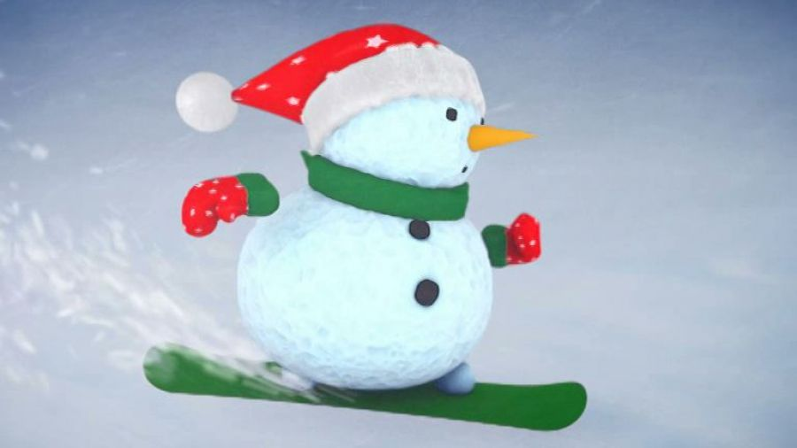 Снеговичок на сноуборде
