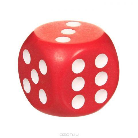 Кость игральная, цвет: красный, размер: 3,6 см
