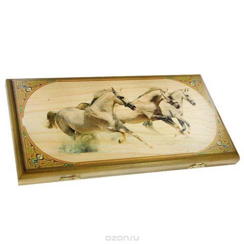 """Нарды малые  Perfecto """"Лошади"""", размер: 40х40х4 см. 064s"""
