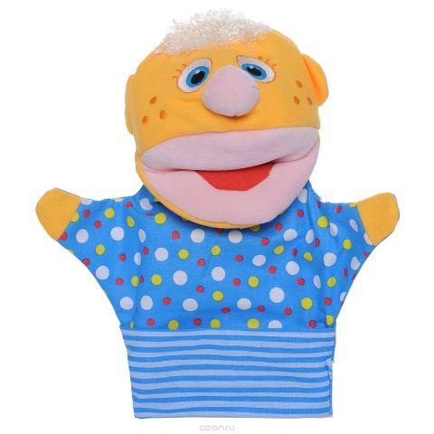 """Мягкая игрушка на руку Мякиши """"Нямлик"""", 26 см, цвет: желтый, синий"""