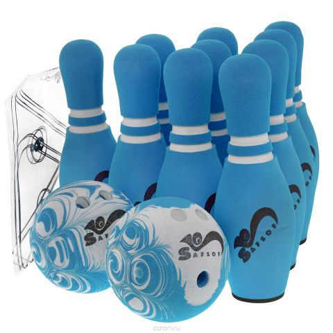 """Игровой набор Safsof """"Боулинг"""", цвет: белый, голубой, диаметр шара 14 см"""