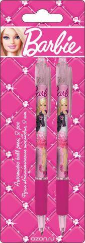 Ручки автоматические шариковые, цвет пасты синий, 2 шт. Печать на корпусе - термоперенос. Упаковка - блистер, 500 г/м2, 4+1, европодвес Barbie