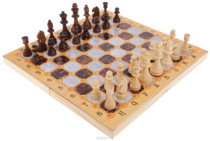 """Игровой набор 3в1 Perfecto """"Мраморный"""": нарды, шахматы, шашки"""