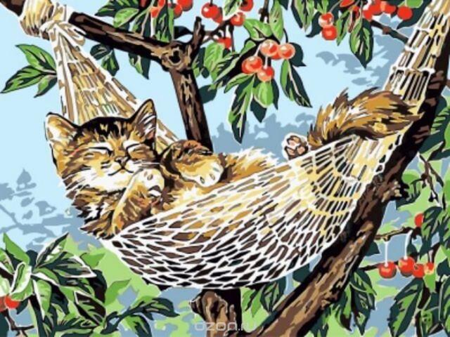 """Набор для рисования по номерам Цветной """"Котенок в гамаке"""", 30 x 40 см"""