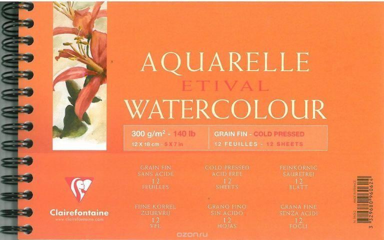 """Альбом Clairefontaine """"Etival"""", на спирали, 12 х 18 см, 12 листов"""