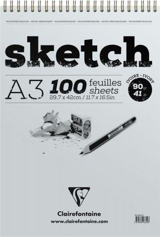 """Блокнот Clairefontaine """"Sketch"""", для сухих техник, на спирали, цвет: кремовый, формат A3, 100 листов"""