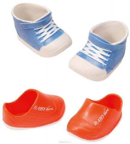 Baby Born Ботиночки для кукол цвет голубой белый оранжевый 2 пары