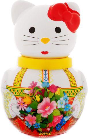 Stellar Неваляшка Кошечка Алина с букетом цветов