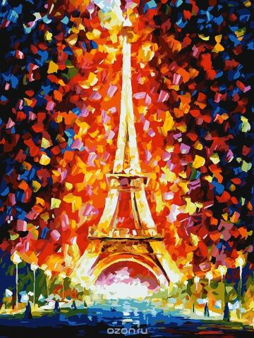 "Живопись на картоне Белоснежка ""Париж - огни Эйфелевой башни"", 30 х 40 см"