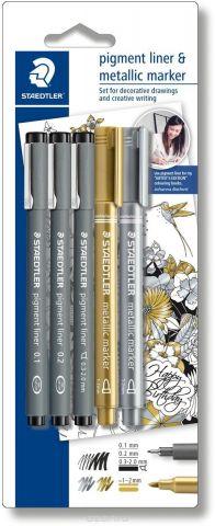 Staedtler Набор капиллярных ручек Pigment 308 3 шт с маркерами
