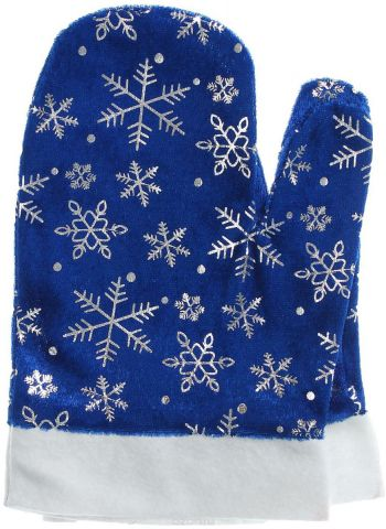 """Варежки Деда Мороза """"Sima-land"""", цвет синий, со снежинками. Размер универсальный"""