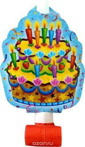 Пати Бум Язык-гудок с карточкой Праздничный торт 6 шт