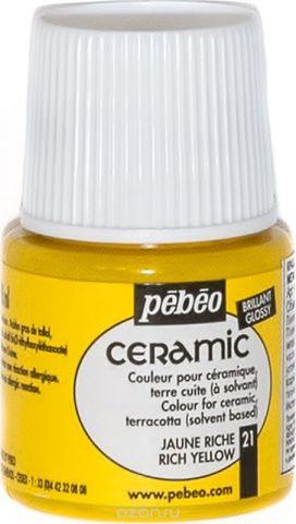 Pebeo Краска по керамике и металлу Ceramic цвет 21 насыщенный желтый 45 мл
