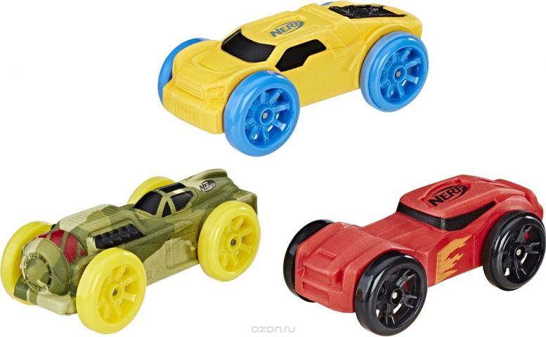 Nerf Машинка Nitro цвет камуфляж желтый красный 3 шт