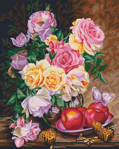 """Набор для рисования по номерам Мосфа """"Розы и мед"""", 40 х 50 см"""