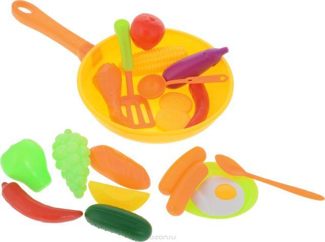 Altacto Игровой набор посуды с продуктами Сытый повар цвет желтый оранжевый 19 предметов