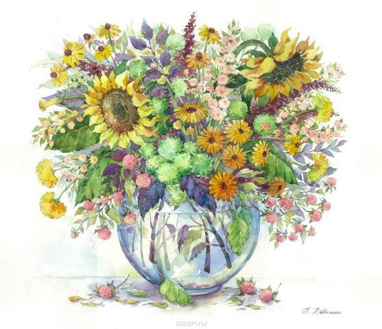 """Набор для рисования по номерам Цветной """"Подсолнухи в вазе"""", 40 х 50 см"""