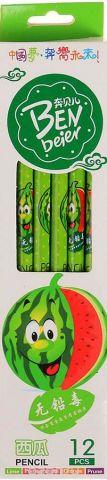 Карандаш чернографитный Фрукты и ягоды с ластиком твердость HB цвет корпуса зеленый
