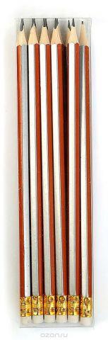 Calligrata Карандаш чернографитный Полоски с ластиком твердость HB цвет корпуса оранжевый серый