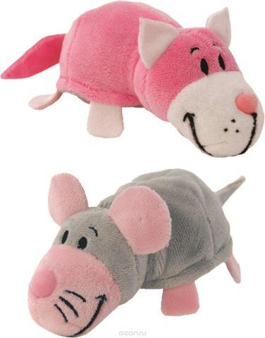 1TOYМягкая игрушкаВывернушка 2в1 Розовый кот-Мышка 12 см