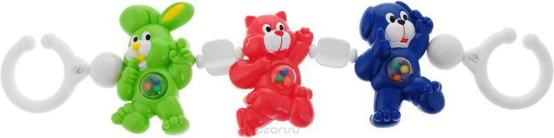 Canpol Babies Игрушка подвесная с погремушкой Зайка кошка собачка цвет зеленый розовый синий