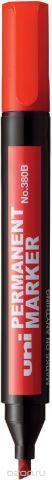 Маркер перманентный Uni, No.380B, наконечник скошенный, цвет: красный