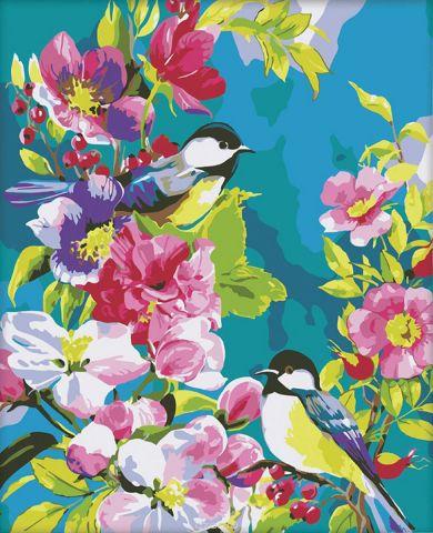 """Картина по номерам Школа талантов """"Птицы в цветах"""", 2254115, 40 х 50 см"""