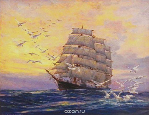 """Картина по номерам Школа талантов """"Корабль с чайками """", 3462721, 30 х 40 см"""