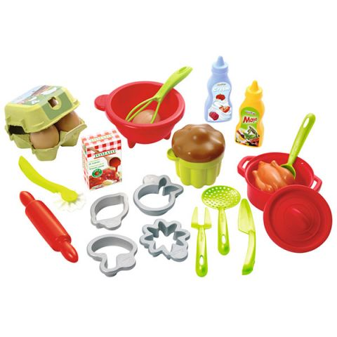 Ecoiffier 2617S Набор посудки с продуктами - 26 предметов