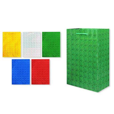 Пакет подарочный бумажный S1494 голография 28x18x10 см, 5 видов (в ассортименте)